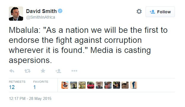 David Smith on Twitter Mbalula As a nation we will be the first to endorse the fight against corruption wherever it is found. Media is casting aspersions. - Google Chrome 2015-05-28 014812 PM.bmp