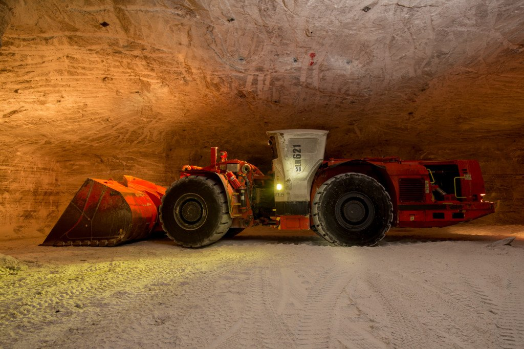 A front end loader used to haul raw salt around the mine at Morton Salt Mine in Fairport, OH on March 23, 2015. Photo: Ricky Rhodes